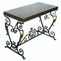Italian Wrought Iron Console Table with St Laurent Marble ...