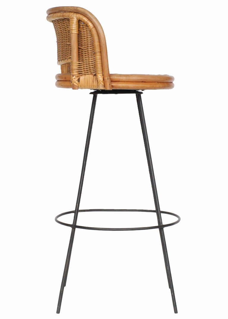 seng chicago chair mode of swivel wicker and iron bar stools at 1stdibs mid century modern for sale
