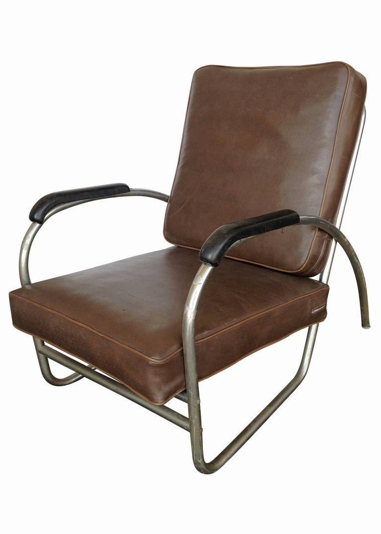 art deco club chairs leather dining table set with 6 modern wolfgang hoffmann style chrome chair by royal metal for sale at 1stdibs