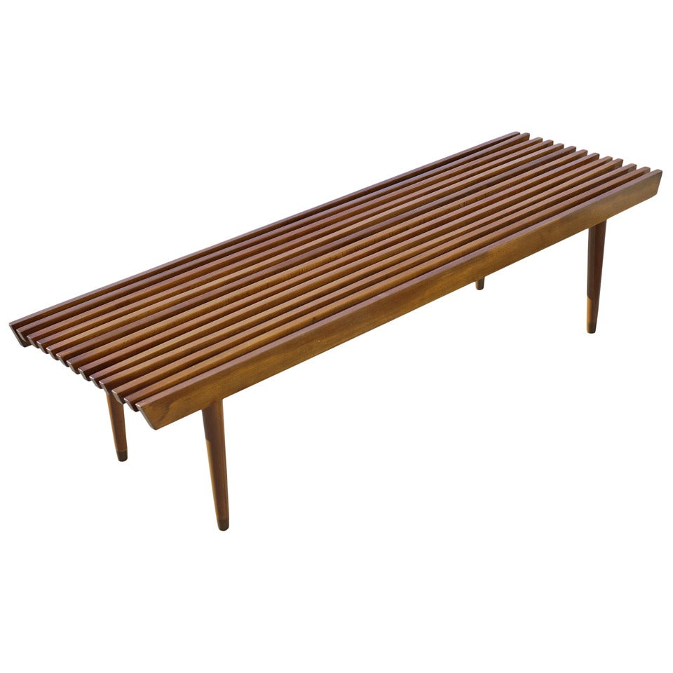 George Nelson Style Wood Slat Bench And Coffee Table At