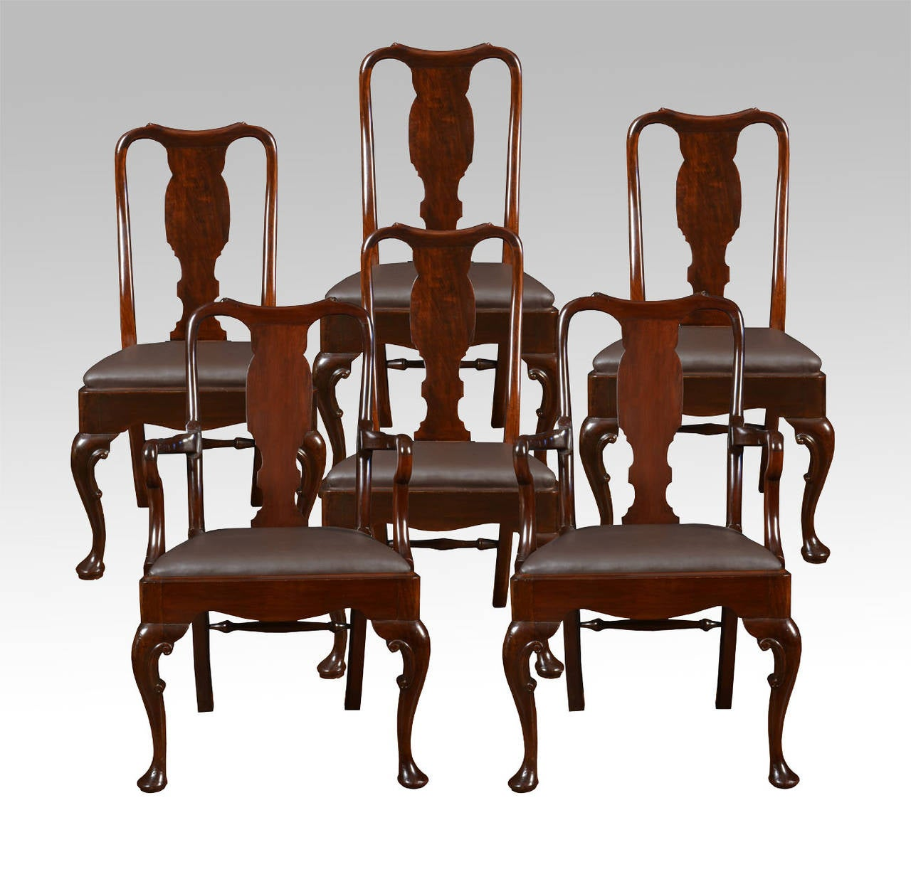 high back dining chairs seat chair set of six early 20th century queen anne style