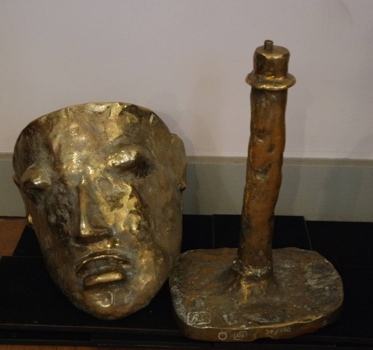Fantastic Bronze Mask Lamp By Garouste And Bonetti At 1stdibs