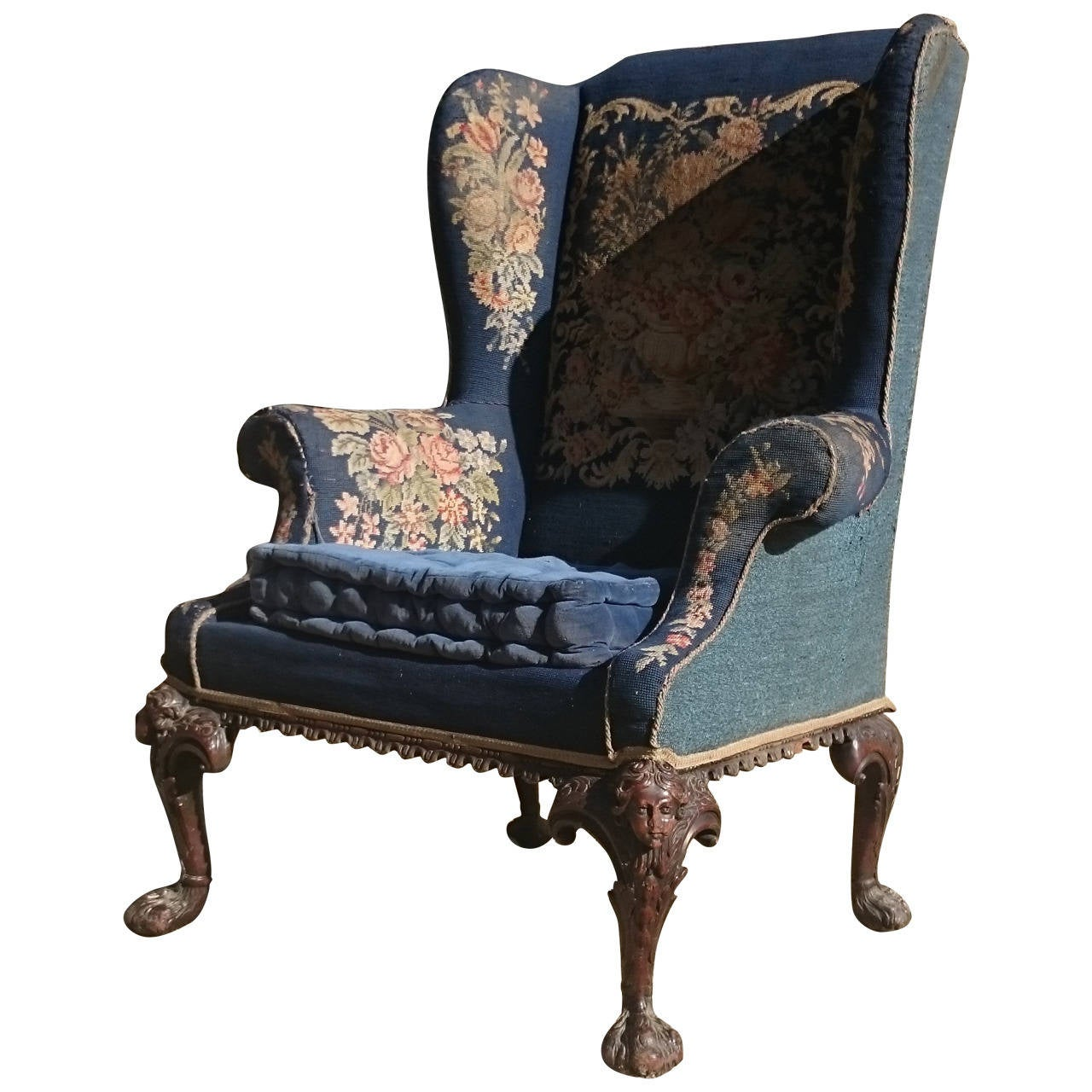 large wingback chair sitting on exercises fine quality scale antique wing at 1stdibs