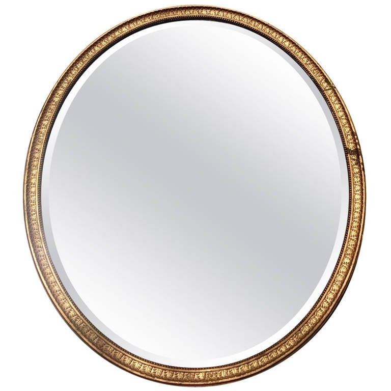 Large Antique Oval Overmantle Mirror at 1stdibs