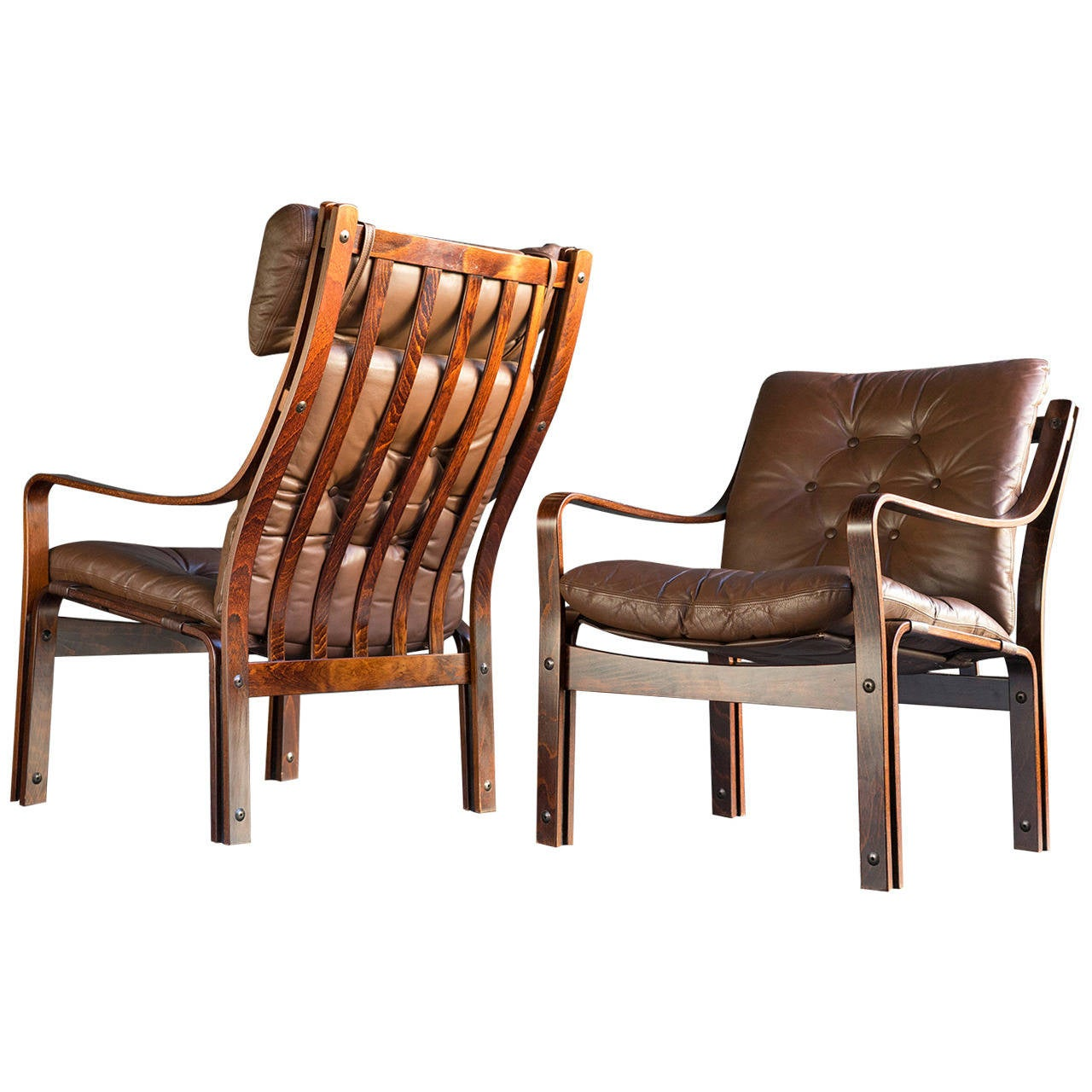 Modern Club Chairs Scandinavian Modern Leather Lounge Chairs At 1stdibs