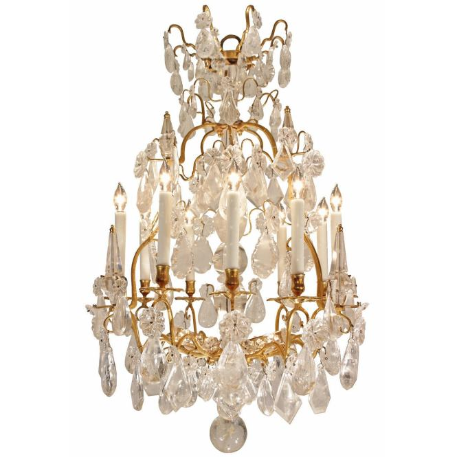 French Mid 18th Century Louis Xv Period Rock Crystal And Ormolu Chandelier For