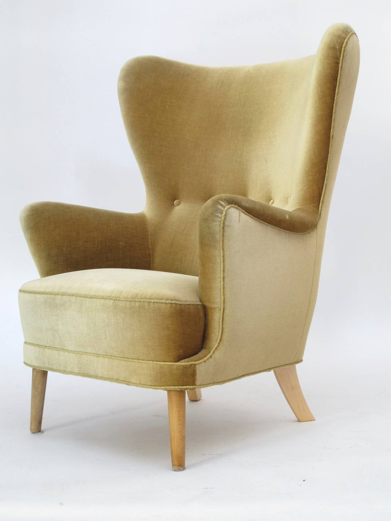 img chairs for sale small leather club danish wingback chair in mohair at 1stdibs