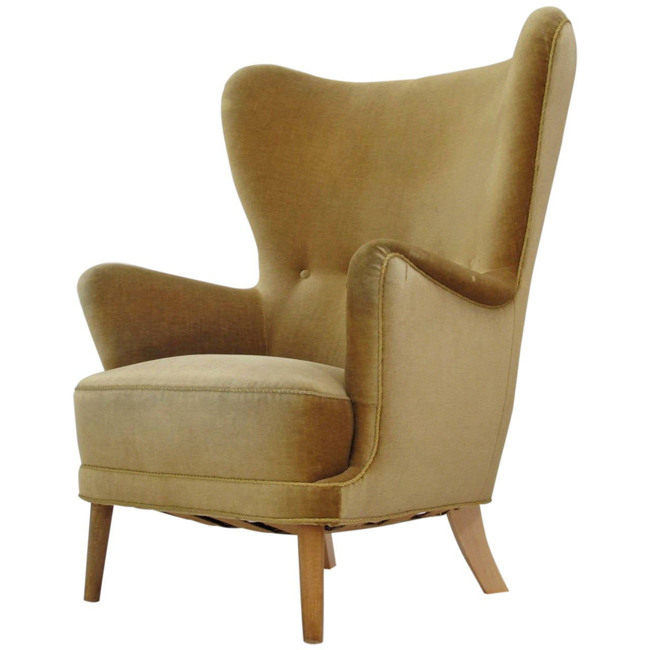wing chairs on sale 2nd row captains danish wingback chair in mohair for at 1stdibs