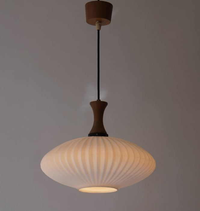 Mid Century Danish Glass And Wood Chandelier Or Pendant Light 3
