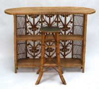 Vintage Italian Rattan Cocktail Bar For Sale at 1stdibs