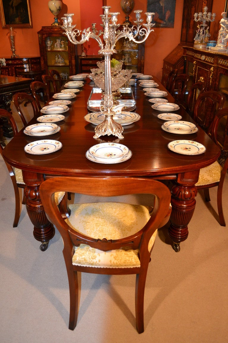 Antique Victorian Dining Table circa 1880 and 12 Chairs at