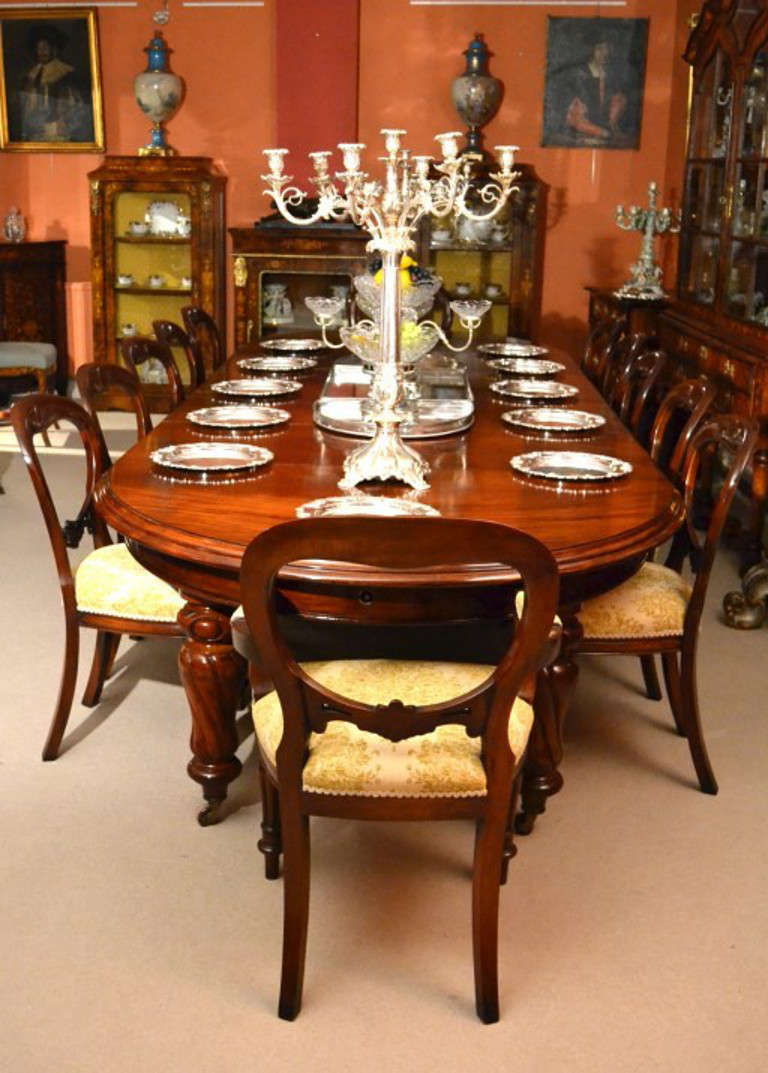oak dining set 6 chairs time life chair antique 12ft victorian table and 12 c.1860 at 1stdibs