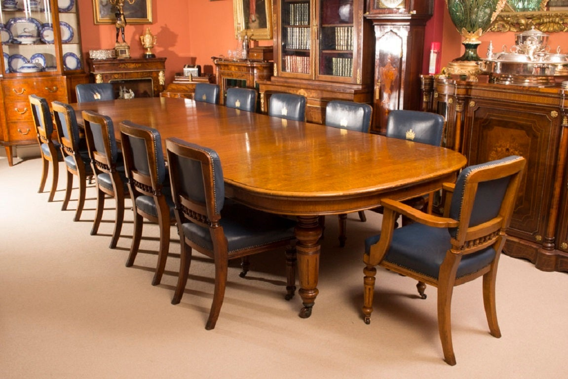 12 Chairs Antique Victorian Oak Dining Table And 12 Chairs C 1870 At