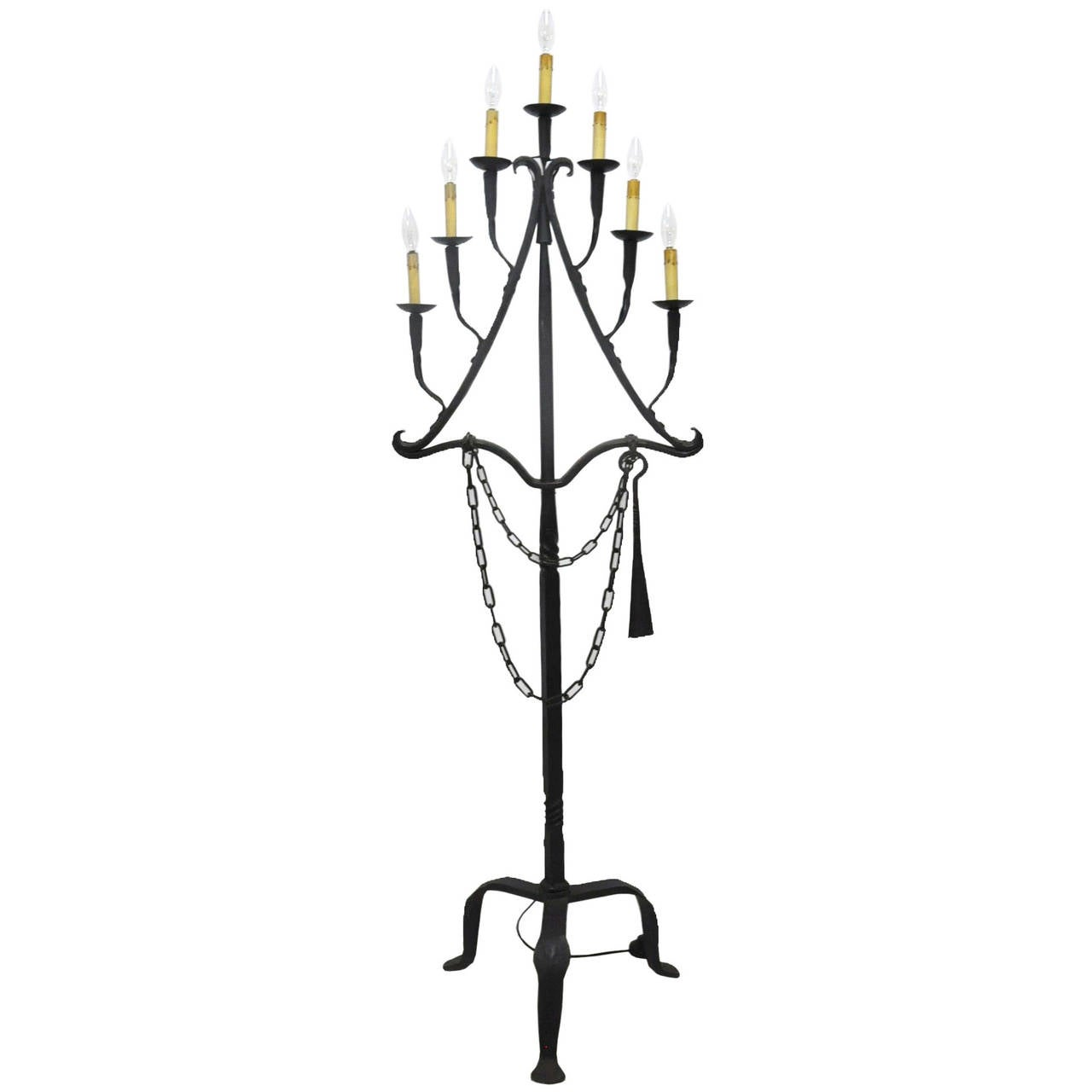 Antique 18th Century Wrought Iron Floor Lamp For Sale at