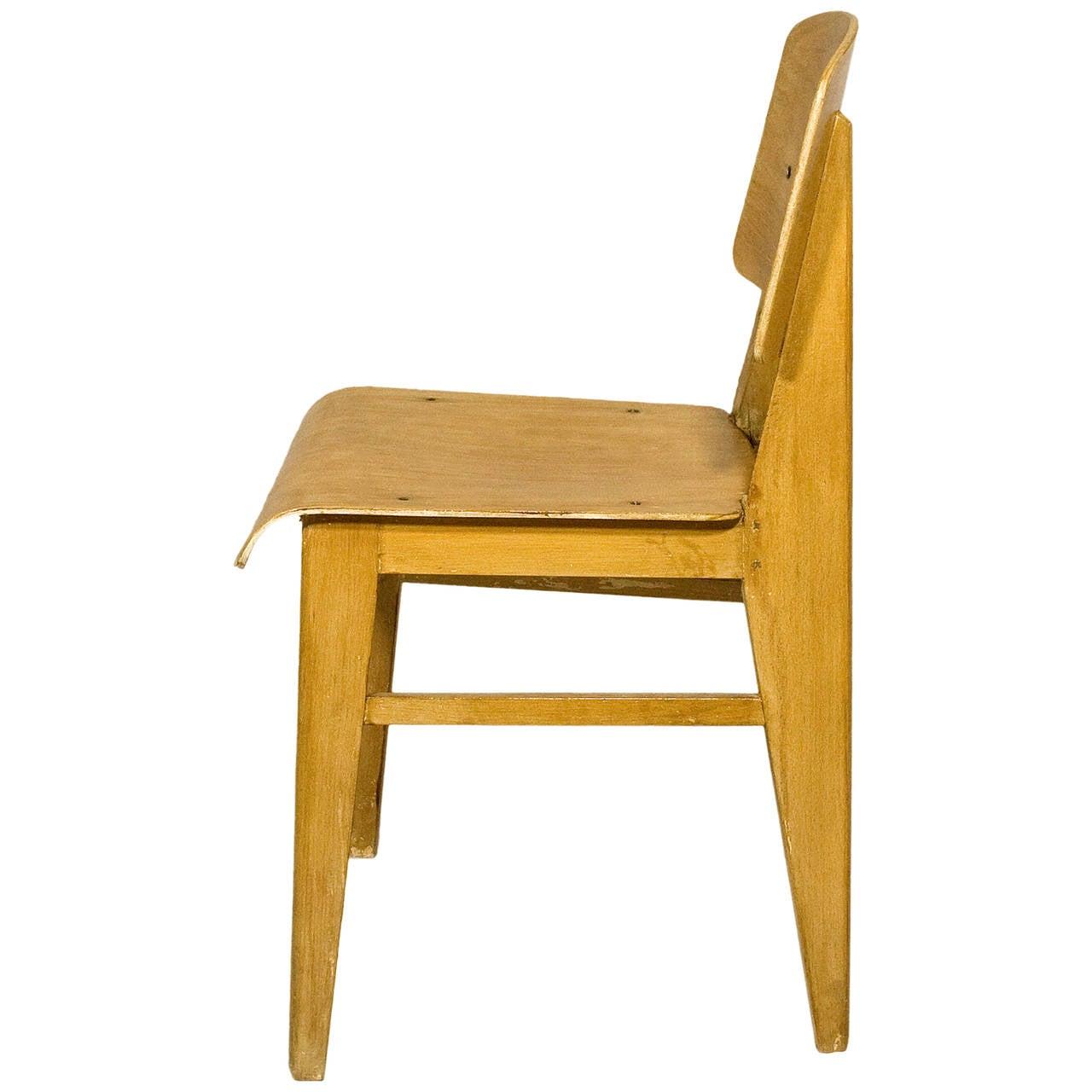 Jean Prouve Chaise en Bois Wooden Standard Chair circa