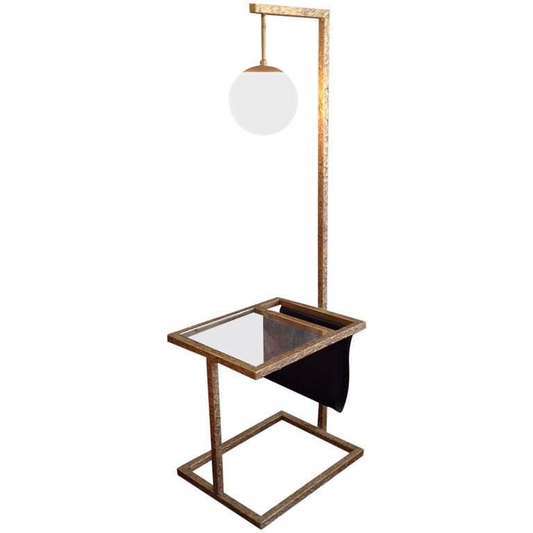Brutalist Floor Lamp With Table And Magazine Rack At 1stdibs
