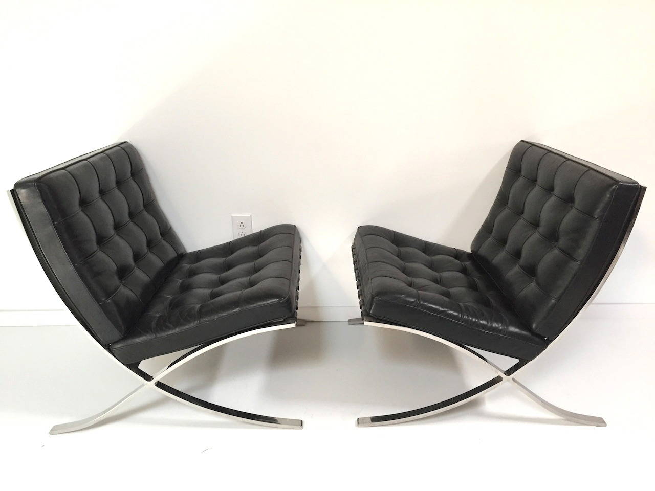 barcelona chair used reclining rocking canada pair of authentic mies van der rohe black leather