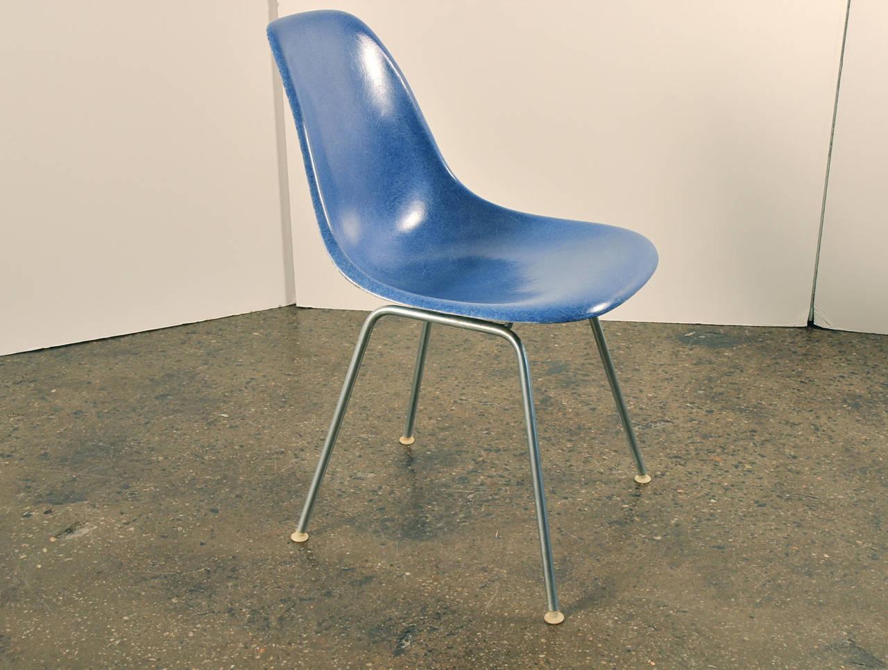 fiberglass shell chair beatrix navy velvet side 8 eames herman miller chairs blue at 1stdibs