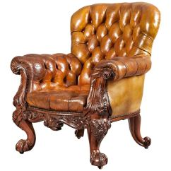 Gentlemans Chair Big Round Gentleman S Leather Library Firmly Attributed To Gillows Of Lancaster For Sale