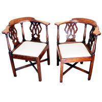 Antique Georgian Pair of Oak Corner Chairs at 1stdibs