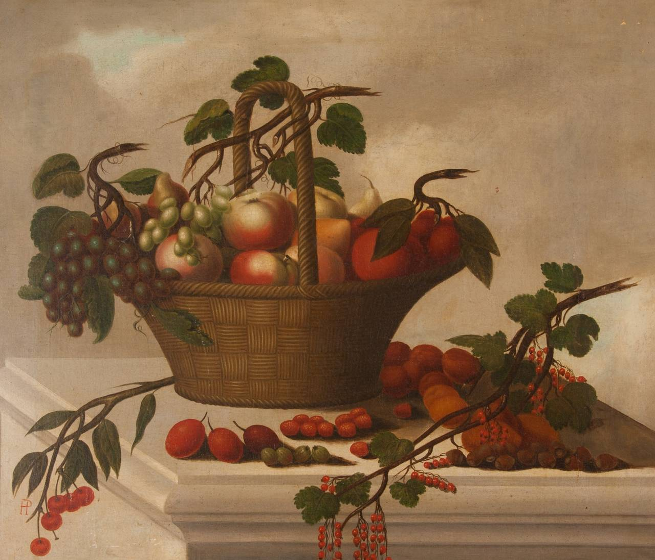 Old Master Still Life Painting of a Basket of Fruit For