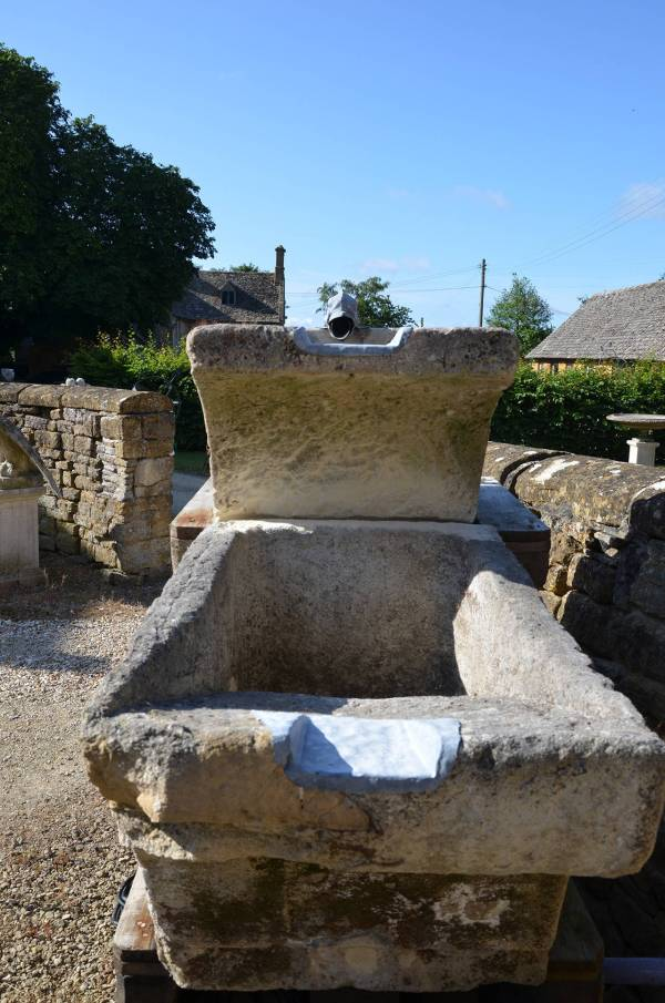 Three-tier Stone Fountain With Zinc Spout In Form Of