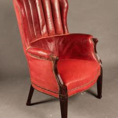 Red Leather Wingback Chair Ikea Poang Antique Mahogany Barrel Back Wing At 1stdibs