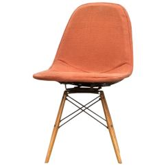 Orange Side Chair Metal Dining Chairs 1950 S Fabric Swivel By Charles And Ray Eames For