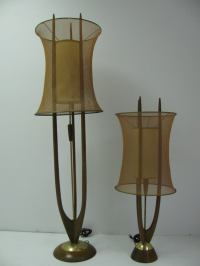 Pair Tall Danish Modern Table Lamps with Copper Mesh
