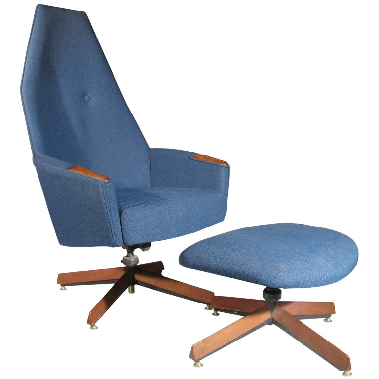 Adrian Pearsall Highback Lounge Chair with Ottoman For