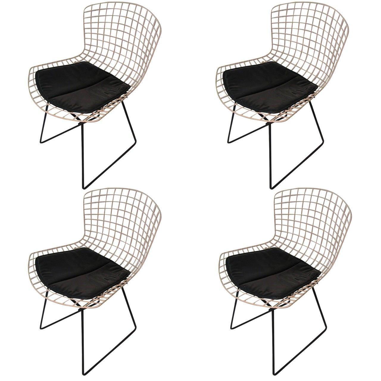wire dining room chairs wooden folding for rent set of four original harry bertoia knoll
