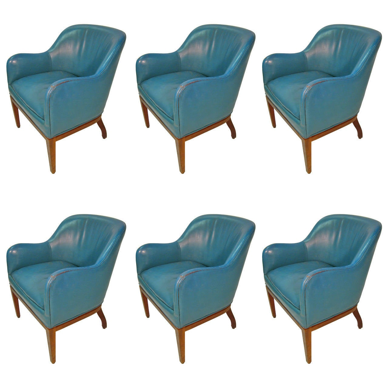 Blue Leather Dining Chairs Set Of Six Leather Dining Conference Chairs In Blue At