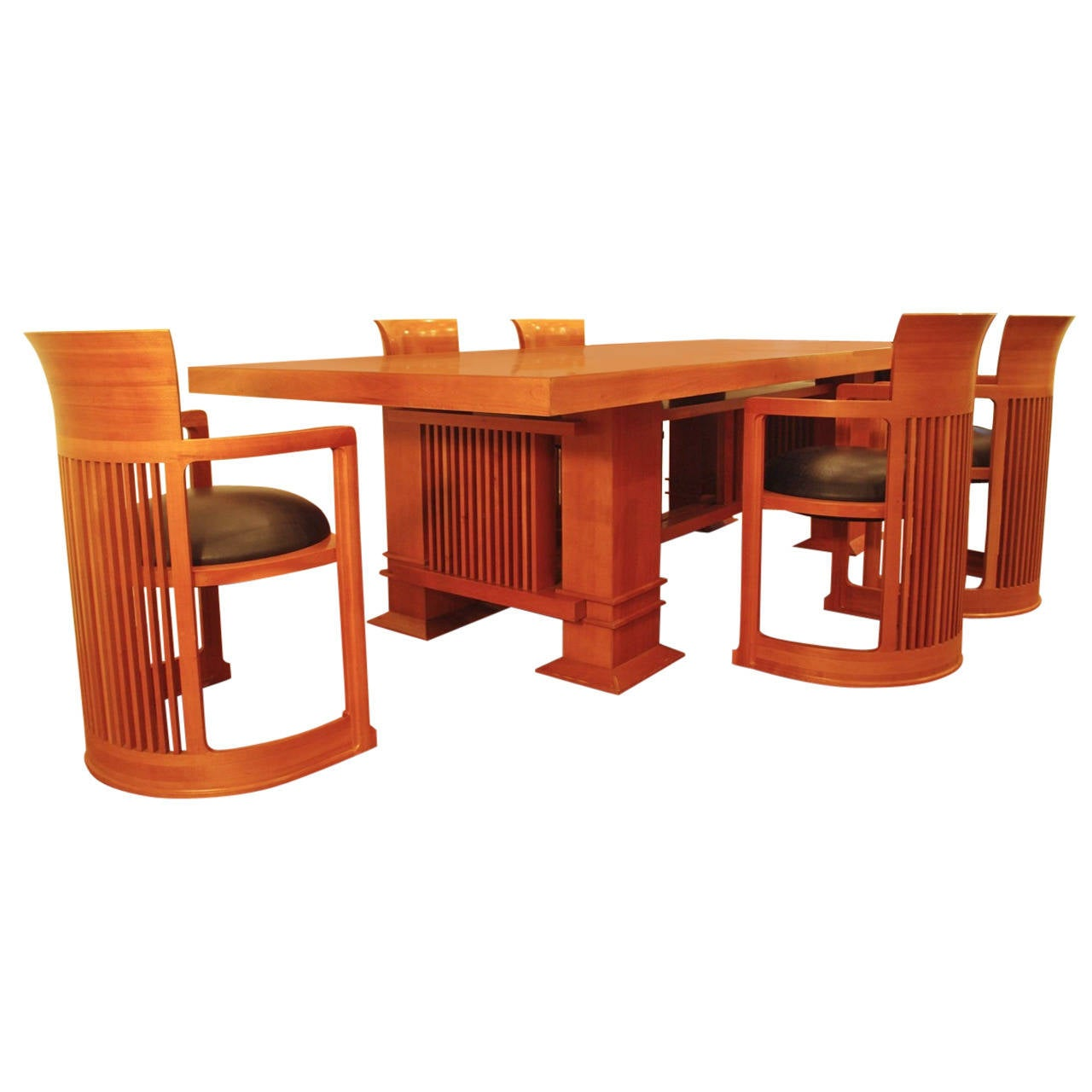 Frank Lloyd Wright Chairs Dinning Room Set By Frank Lloyd Wright Six Barrel Chairs