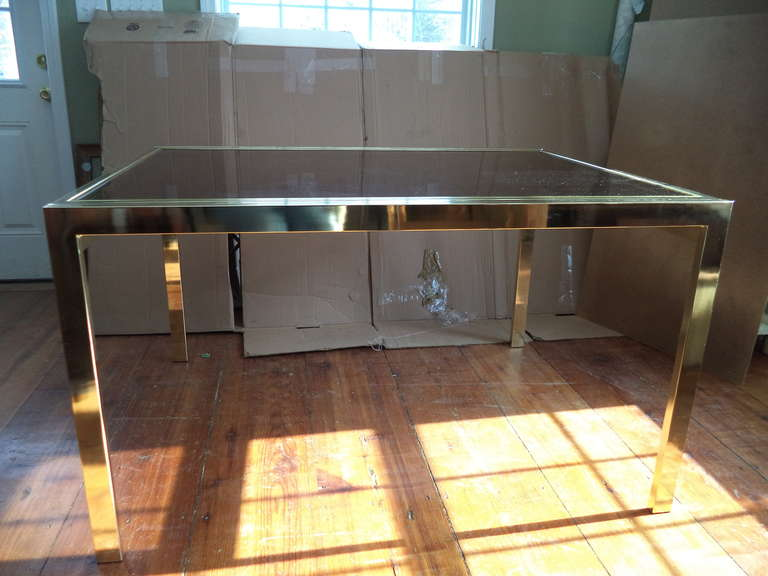 Brass Extension Dining Table by DIA with Smoked Glass Top