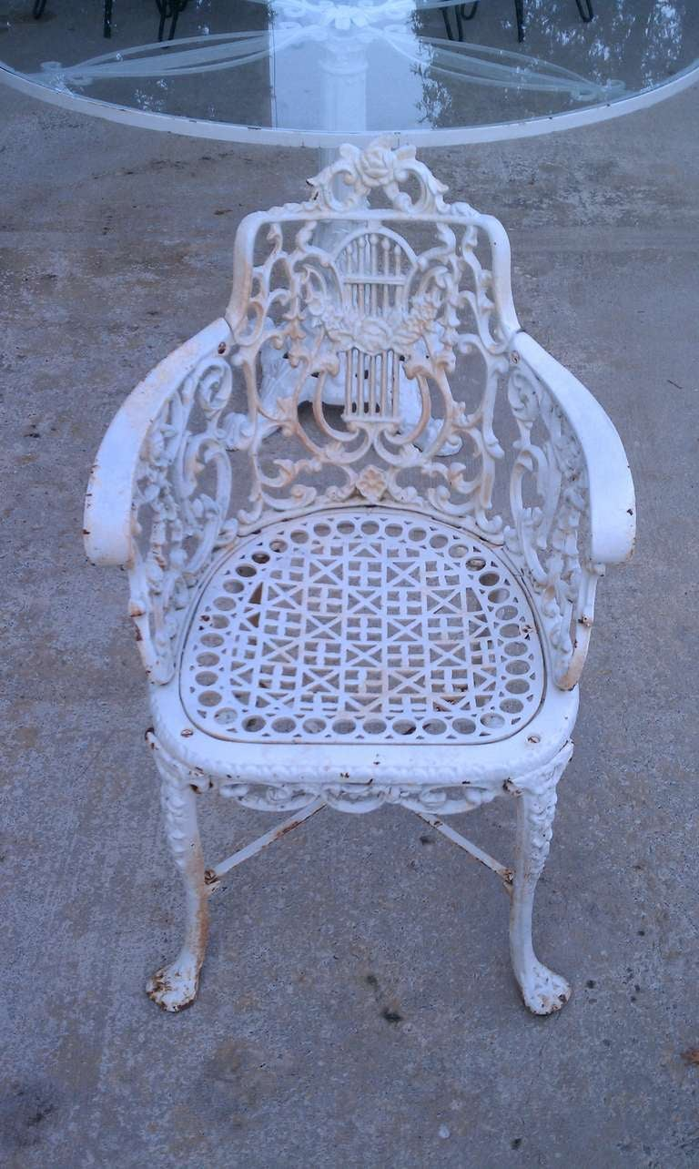 antique cast iron garden table and chairs steelcase task chair neoclassical patio set at 1stdibs