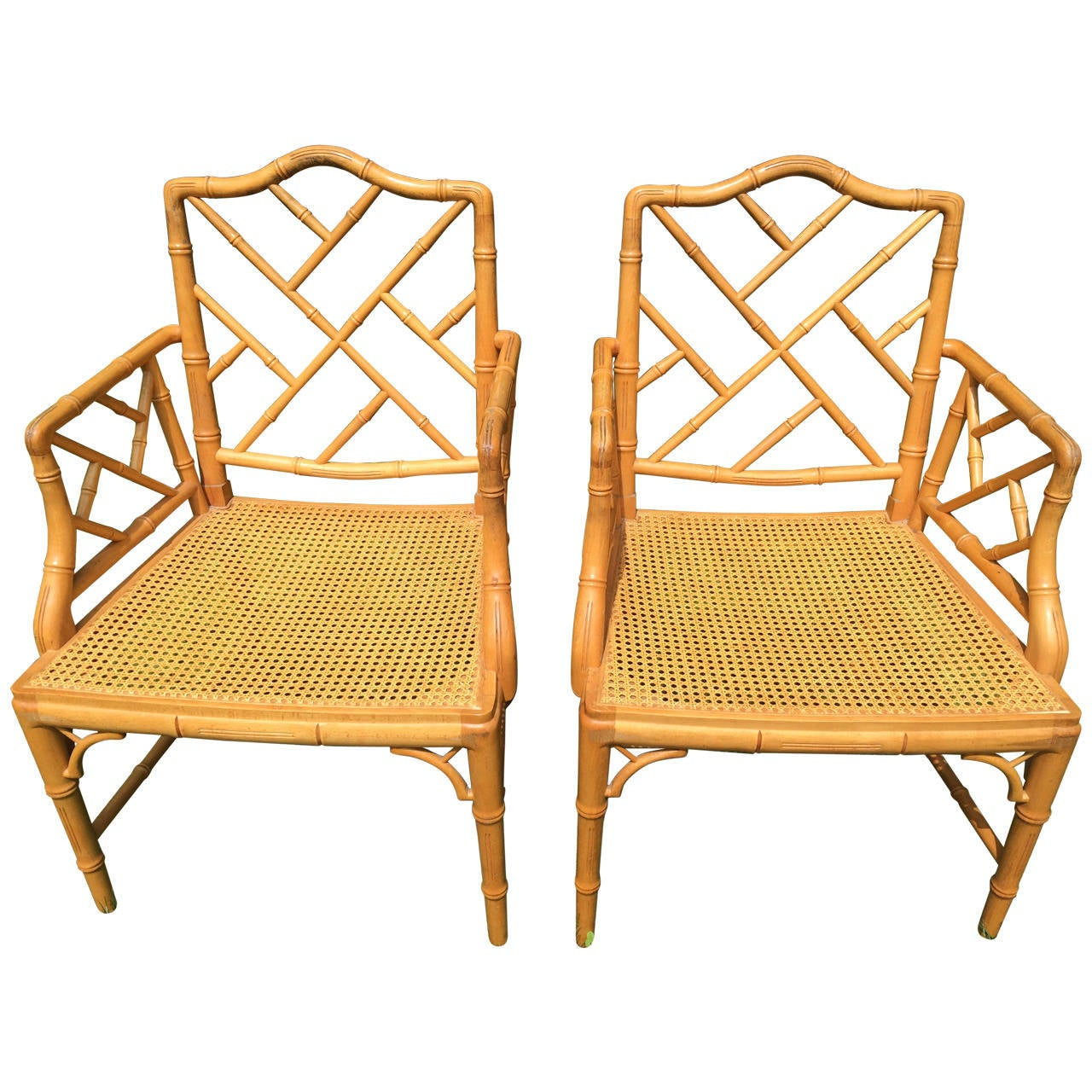 Pair of Chinese Chippendale Bamboo Chairs at 1stdibs