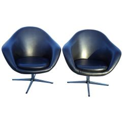 Swivel Pod Chair Bedroom And Footstool Pair Of Vintage Overman Lounge Chairs At 1stdibs