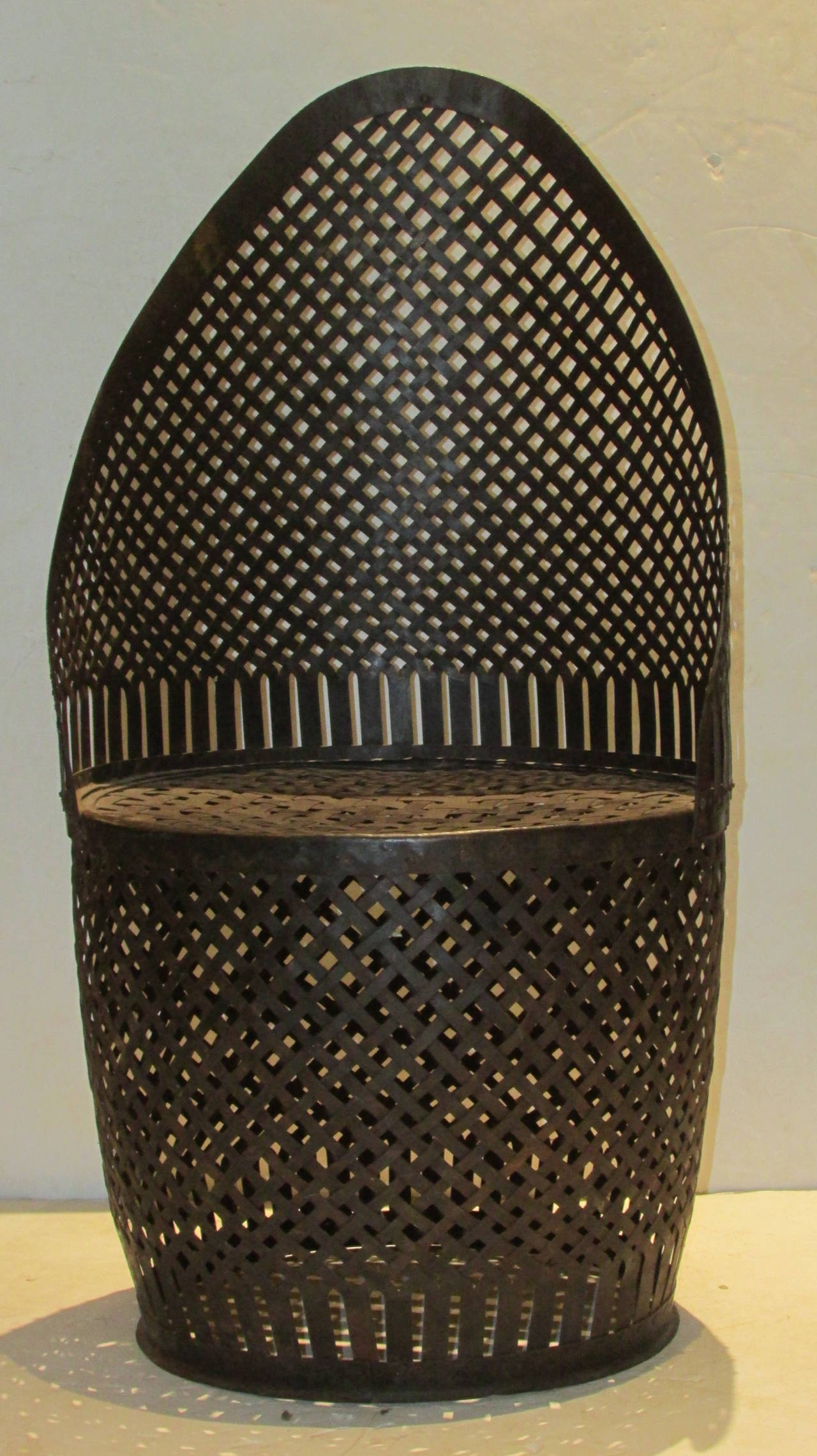 Drum Chair Riveted Woven Metal Drum Barrel Chair At 1stdibs