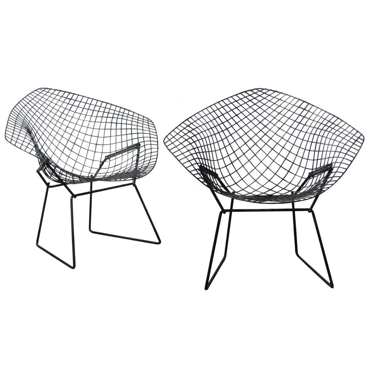 Harry Bertoia Chair Pair Of Harry Bertoia Diamond Chairs At 1stdibs