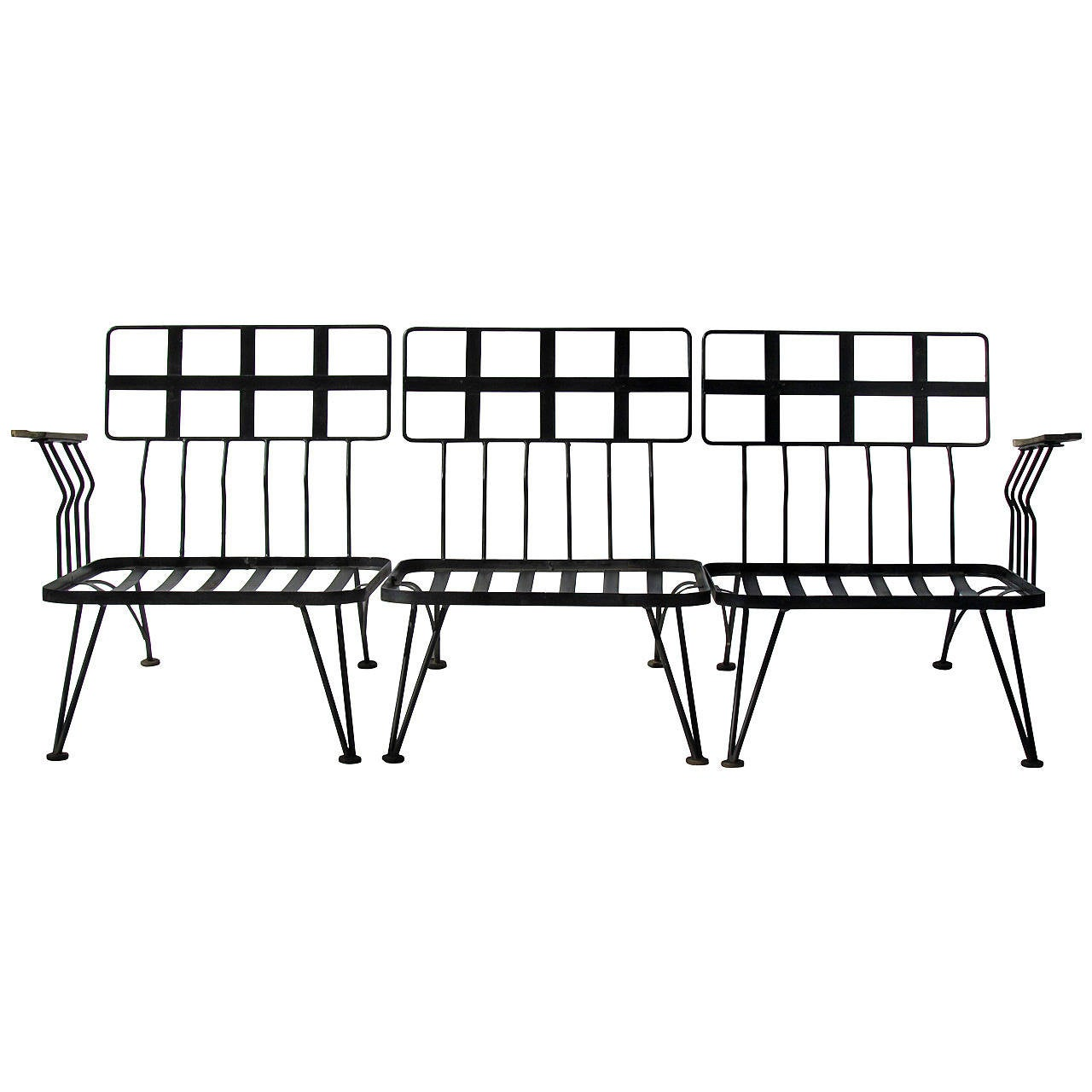 Russell Woodard Modernist Wrought Iron And Wood Sectional
