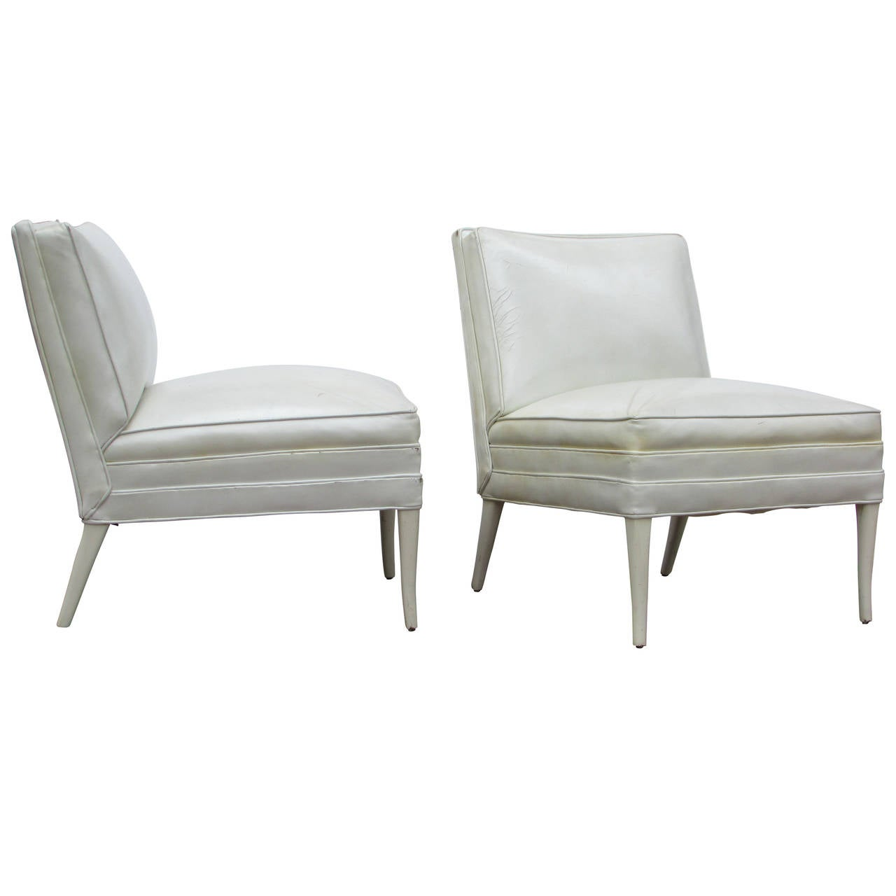White Club Chair White Leather Lounge Chairs Tommi Parzinger At 1stdibs
