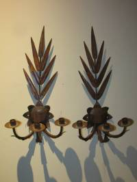 Acanthus and Palm Leaf Three Arm Sconces at 1stdibs
