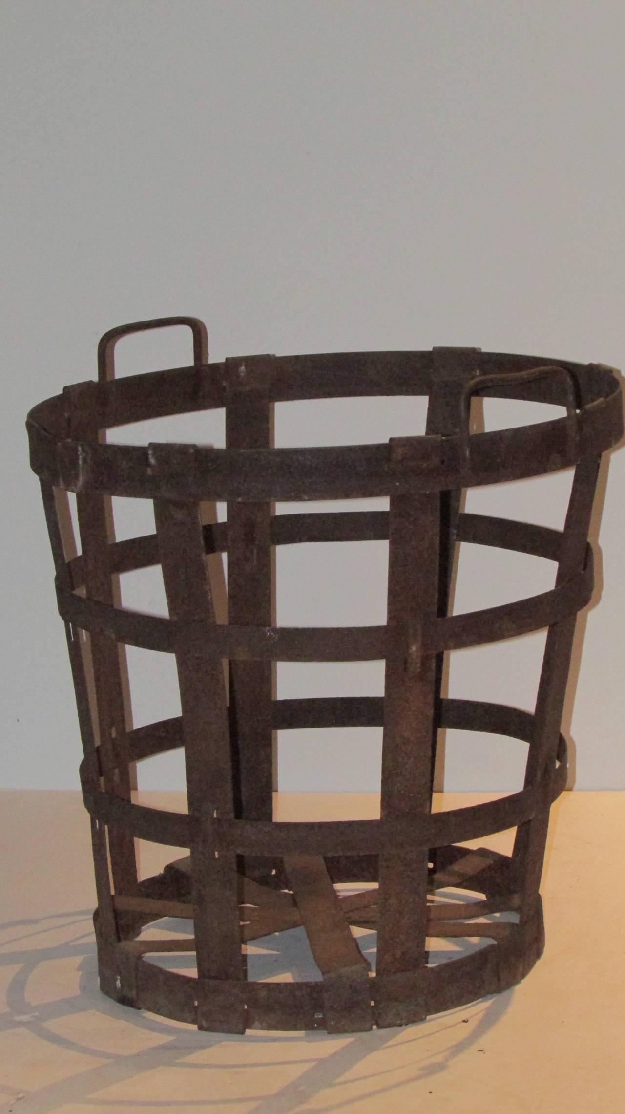 Rustic French Strap Metal Demijohn Basket At 1stdibs