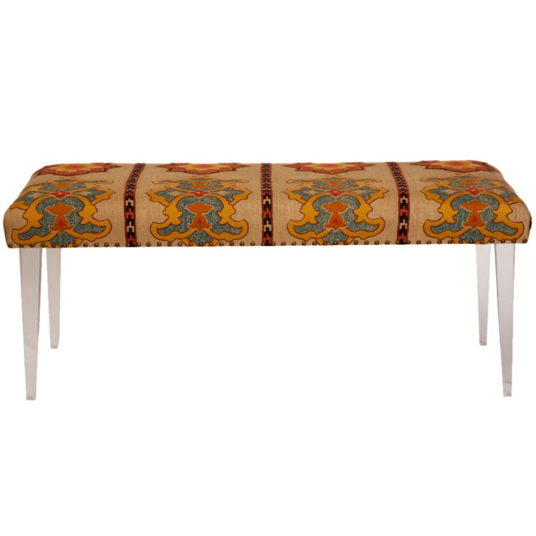 percival lafer sofa best mattress topper for a sleeper schumacher temara fabric and lucite bench at 1stdibs