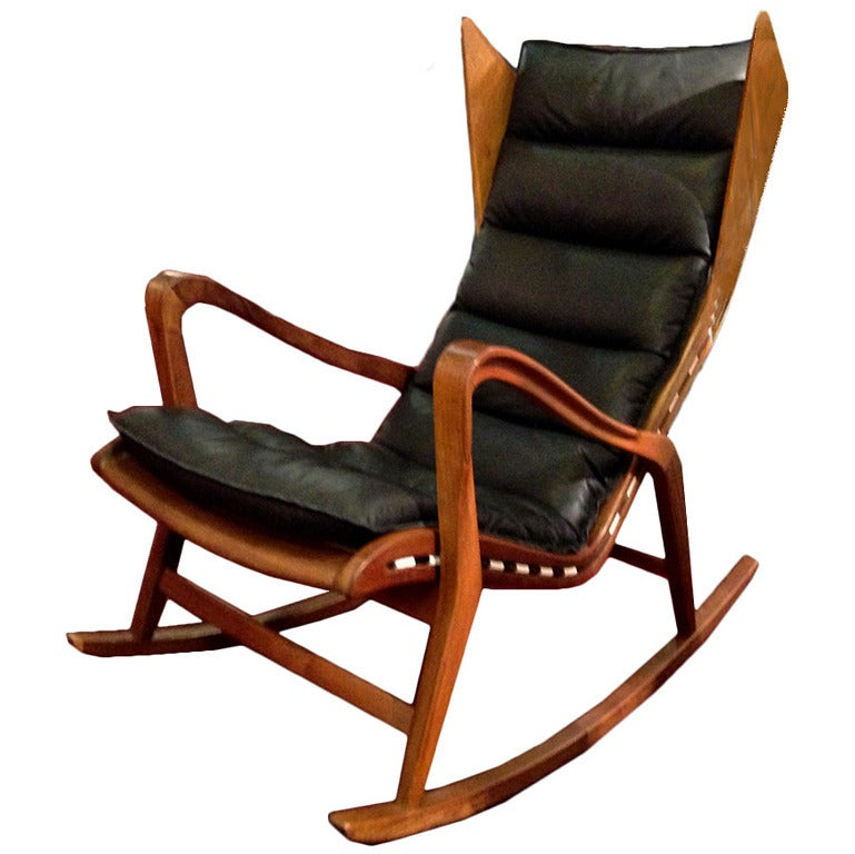 wooden rocking chair cushion set cool gaming chairs mod 572 production cassina attributed gio ponti at 1stdibs