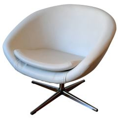 Swivel Chair Egg Small Rocker Recliner 1960s In White Leather With Chrome Base