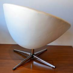 Swivel Chair Egg Hardware 1960s In White Leather With Chrome Base