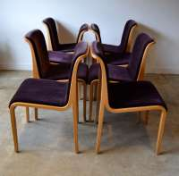 Knoll Bent Wood and Mohair Dining Chairs by Bill Stephens ...