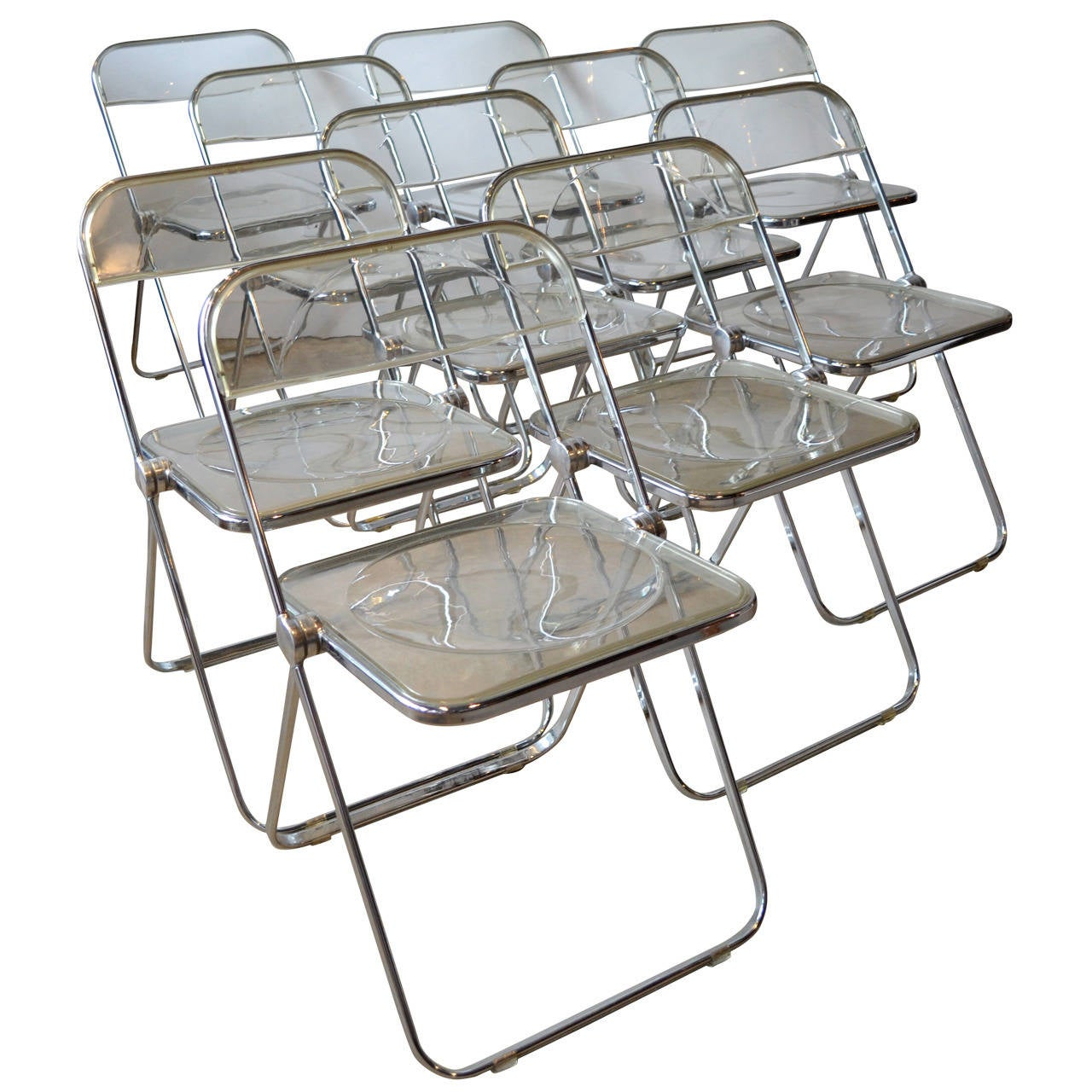 Lucite Folding Chairs Ten Quotplia Quot Lucite And Aluminum Folding Chairs By Castelli