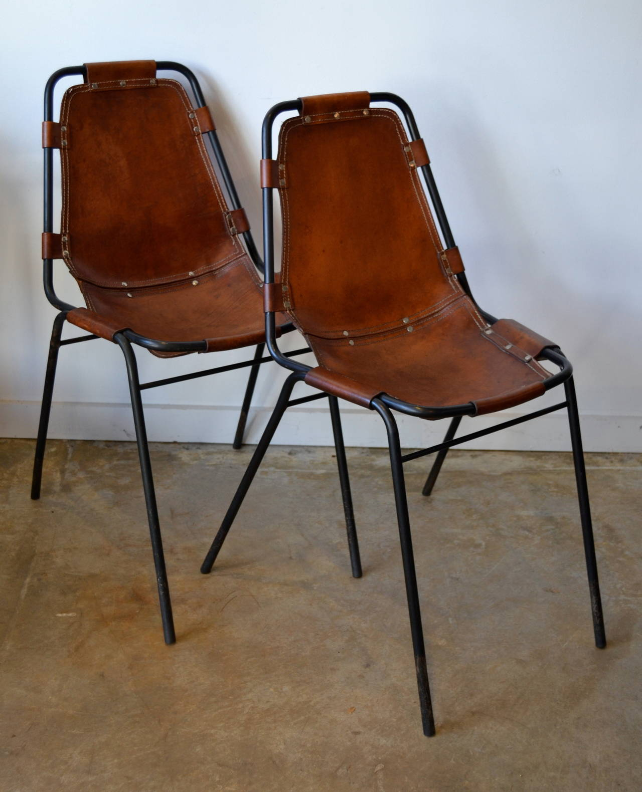 Leather Side Chair Charlotte Perriand Quotles Arcs Quot Metal And Leather Side